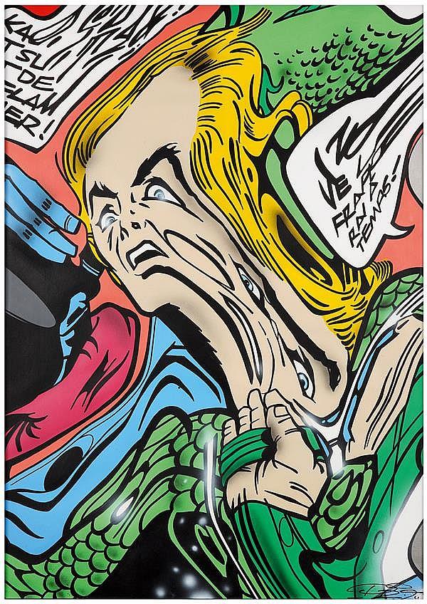 Pro176 (Né en 1976) Let's go of the pain, 2012 Acrylique sur papier Signée en bas à droite Signée, titrée et datée au dos Acrylic on...