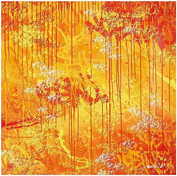 Noé Two (Né en 1974) Orange Mécanique Peinture aérosol et acrylique sur toile Signée dans le motif Signée et titrée au dos Spray pai...