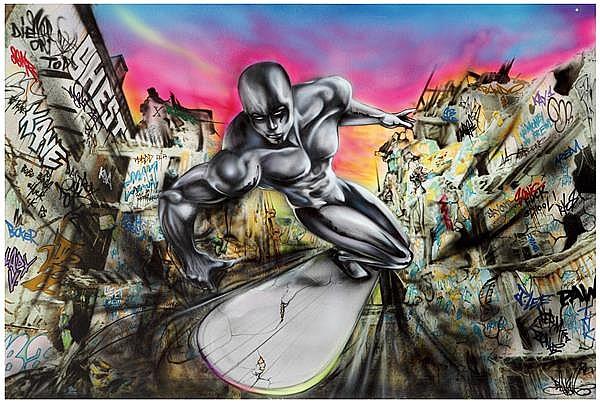 Banga (Né en 1970) My heart still chrome in the street, 2000 Technique mixte et impression jet d'encre sur toile Signée en bas à dro...