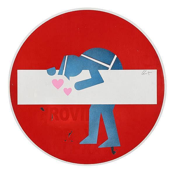 Clet Abraham (Né en 1966) Il poliziotto innamorato, 2014 Adhésif réfléchissant et pochoir sur panneau de signalisation Signé au mili...