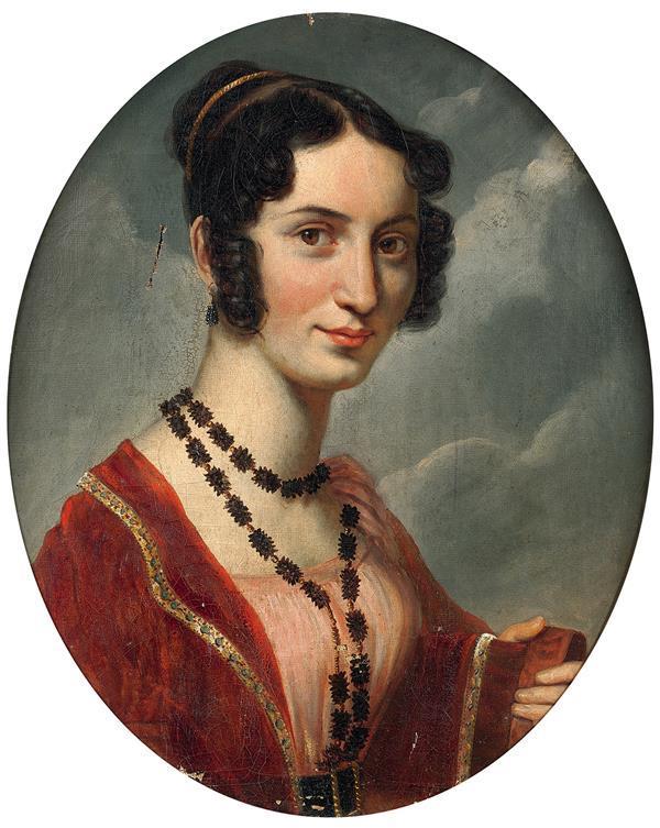 cole fran aise vers 1820 portrait de dame en buste sur sa t. Black Bedroom Furniture Sets. Home Design Ideas