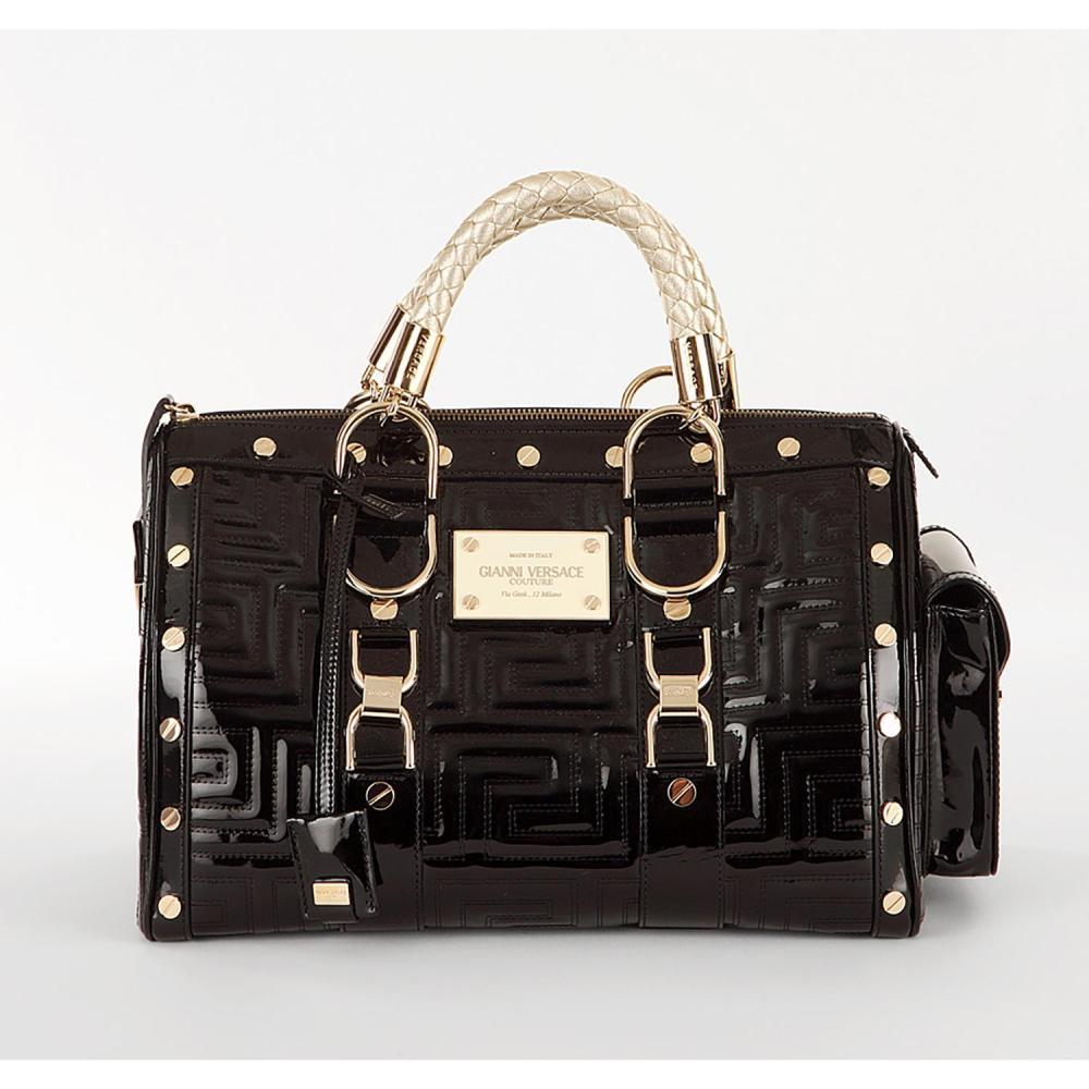 gianni versace couture sac main noir en cuir vernis handba. Black Bedroom Furniture Sets. Home Design Ideas