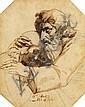 JEAN-VICTOR SCHNETZ (VERSAILLES 1787 - 1870) UN PÈRE ENLAÇANT SON ENFANT Plume et encre brune, lavis brun sur traits de crayon noir ...