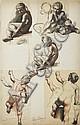 HENRI LEHMANN (KIEL 1814 - PARIS 1882) CINQ ÉTUDES COLLÉS SUR LE MÊME MONTAGE Crayon noir et sanguine 18 X 12,5 CM ; 15 X 20 CM ; 17..., Henri Lehmann, Click for value