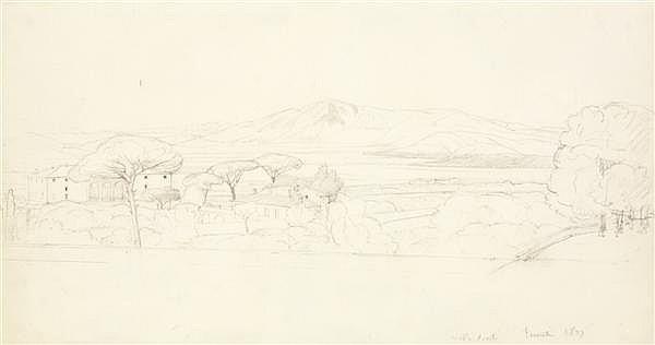 EDOUARD BERTIN (PARIS 1797 - 1871) LA VILLA CONTI À FRASCATI Crayon noir 22 X 40 CM Situé et daté en bas à droite « 1827 »