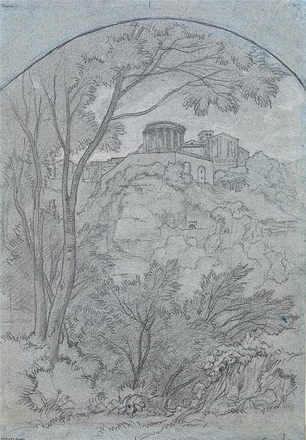 EDOUARD BERTIN (PARIS 1797 - 1871) VUE DE TIVOLI Crayon noir et rehauts de craie blanche sur papier bleu 40 X 28 CM Annoté en bas à ...