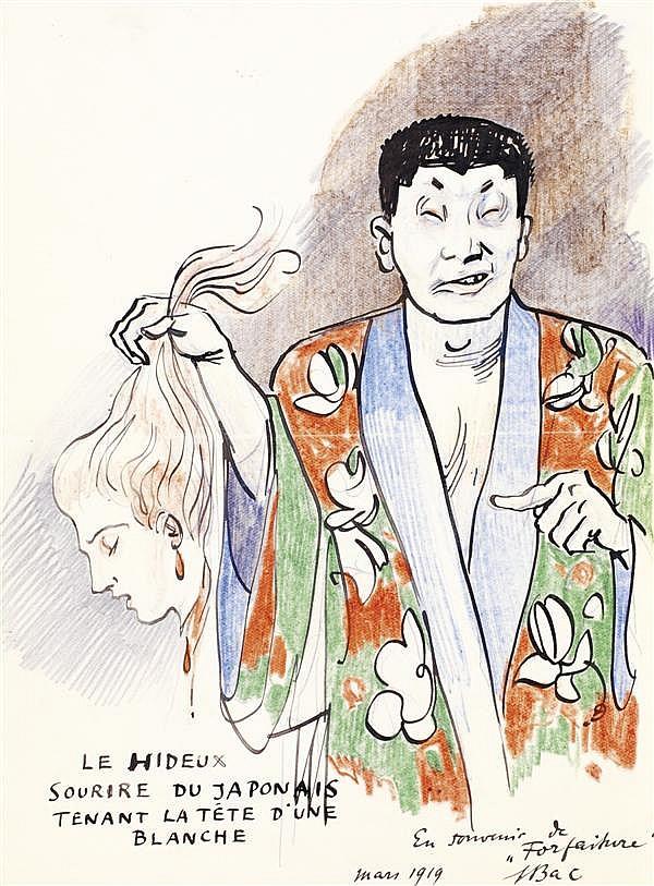 FERDINAND BAC (STUTTGART 1859 - PARIS 1952) LE HIDEUX SOURIRE DU JAPONAIS TENANT LA TÊTE D'UNE BLANCHE Plume et encre noire, crayons...
