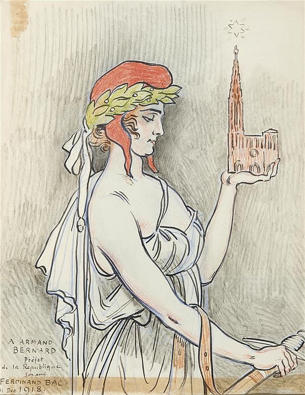 FERDINAND BAC (STUTTGART 1859 - PARIS 1952) LA RÉPUBLIQUE TENANT LA CATHÉDRALE DE STRASBOURG Plume et encre noire, crayons de couleu...