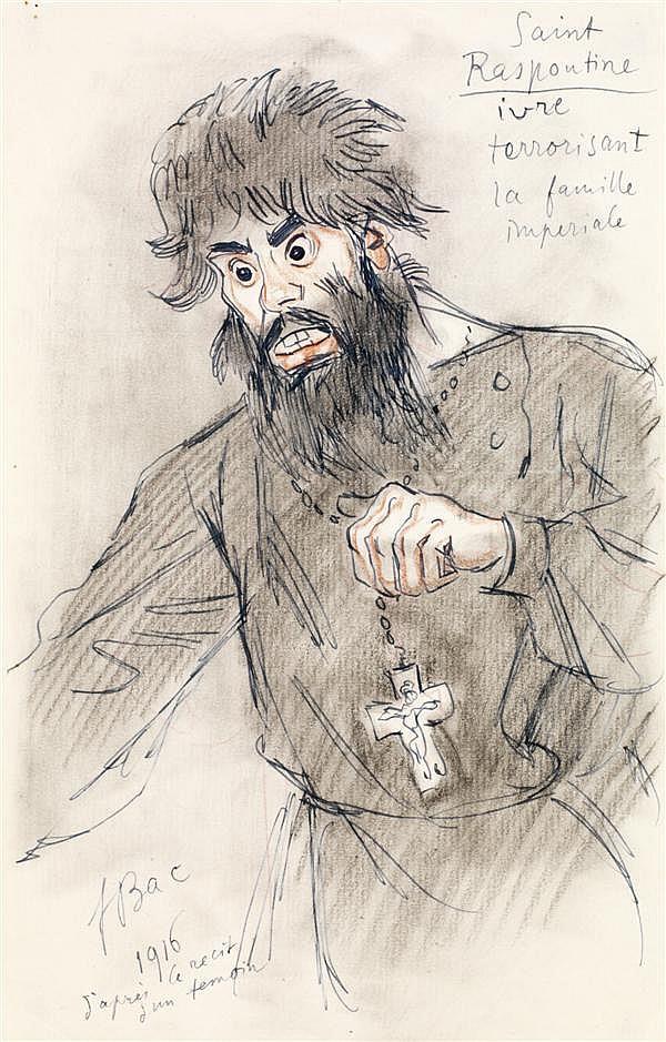 FERDINAND BAC (STUTTGART 1859 - PARIS 1952) SAINT RASPOUTINE IVRE TERRORISANT LA FAMILLE IMPÉRIALE Plume et encre noire, crayons de ...