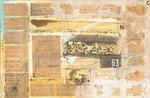 Alain Kleinmann (Né en 1953) Sans titre Technique mixte et collages sur papier Signé vers le milieu à droite 32 x 49 cm
