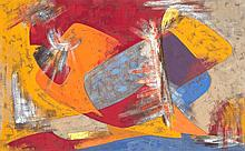 James Pichette (1920-1996) Sans titre, 1955 Gouache sur papier Signée et datée 55 en bas à droite 30 x 48,5 cm à vue