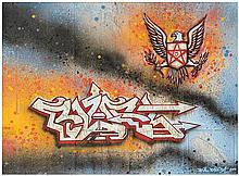 Bill Blast (Né en 1964) Sans titre, 2010 Peinture aérosol et marqueur sur plan de métro de New York Signé et daté en bas à droite  58 x 83 cm