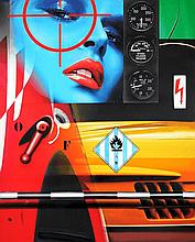Peter Klasen (né en 1935) Rendez-vous dangereux A/9, 2008 Jet d'encre sur toile Signé, titré et daté au dos  162 x 130 cm