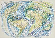 Jean Messagier (1920-1999) Planisphère de Printemps Pastel gras sur papier Signé et titré en bas à droite  74 x 107 cm à vue