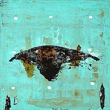 Tony Soulié (Né en 1955) Sans titre, 1992 Technique mixte sur toile  Signée en bas au centre Contresignée et datée au dos  100 x 100 cm