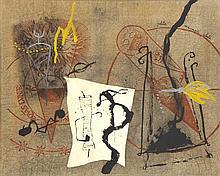 Richard Texier (Né en 1955) Petite mécanique céleste, 1989 Technique mixte sur papier marouflé sur toile Signée des initiales en haut au milieu et titrée en haut à droite Signée et datée au dos  65 x 81 cm