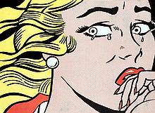Roy Lichtenstein (1923-1997) Crying girl, 1963 Lithographie offset en couleurs sur papier Carton d'invitation à l'exposition Roy Lichtenstein à la Leo Castelli Gallery en 1963 D'une édition au tirage inconnu   43 x 58 cm