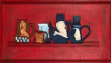 Claude Gilli (né en 1938) Les cafetières, la nuit, 1965-1978 Huile sur panneau découpé Titrée, signée et datée vers le bas à droite 70 x 122 x 6,5 cm