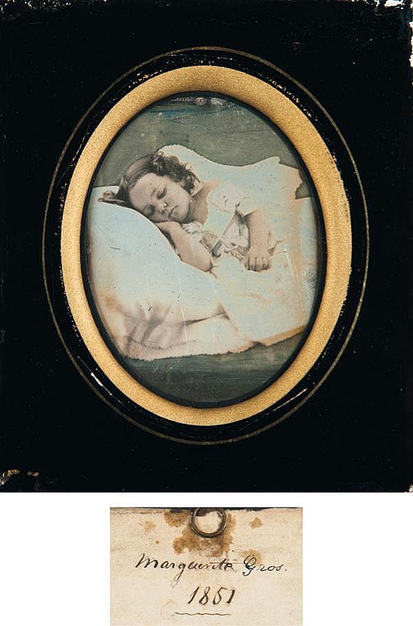 Auteur non identifié Portrait de Marguerite Gros, 1851 Daguerréotype 1/6 de plaque, portant une étiquette manuscrite au dos