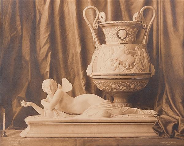 Louis Robert (1810-1882) Nature morte, Exposition de Sèvres, 1855 Épreuve salée, négatif verre, montée sur son carton d'origine, sig...