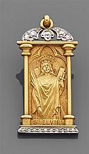 Médaille de mariage en or jaune et platine, en forme de petit temple contenant une représentation ciselée de Sainte Elvire