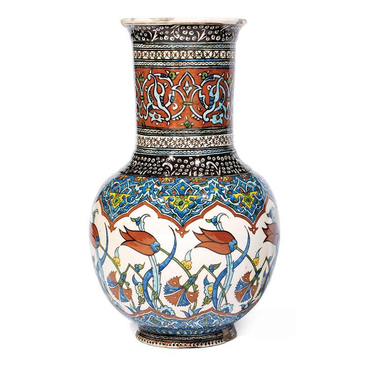 grand vase de k tahyaen c ramique siliceuse d cor polychro. Black Bedroom Furniture Sets. Home Design Ideas