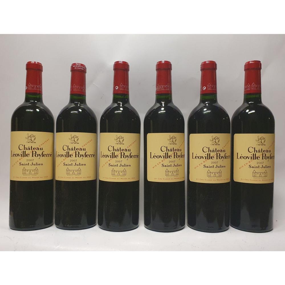6 bouteilles Château LEOVILLE-POYFERRE, 2° cru Saint-Julien 2007 CB