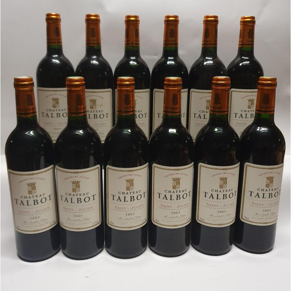 12 bouteilles Château TALBOT, 4° cru Saint-Julien 2003 CB