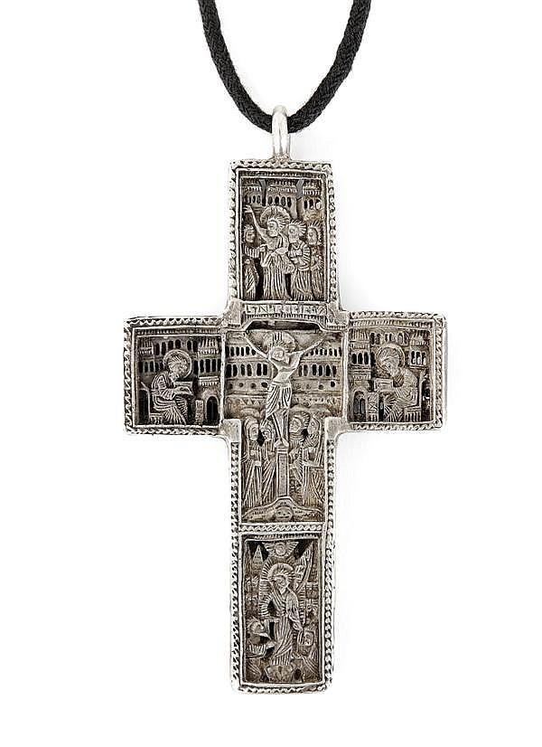 CROIX orthodoxe en argent représentant des scènes de la vie du Christ
