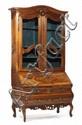 COMMODE SCRIBANNE en vitrine en bois naturel de noyer et placage de ronce de noyer