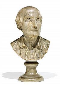 f ÉCOLE FRANÇAISE DERNIER QUART DU XVIIIeSIÈCLE Buste d'homme en marbre représentant probablement Johann Kaspar Lavater (1741-1801)