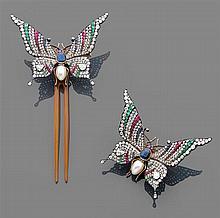 René LALIQUE vers 1890 Magnifique et rare broche papillon Elle représente un papillon exotique, les ailes déployées montées sur ress...