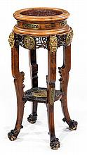 GABRIEL VIARDOT (1830-1906) A large tinted walnut stand in chinese style, bronze elements, marble top. Height. 35 7/8 in. - Top Diam. 1