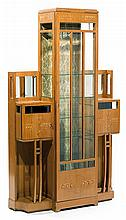 PieTro ZEN (1879-1950) A light wood veneer and marquetery display cabinet. Floral decoration with mother of pearl elements, mother of p