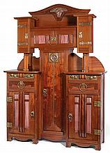 Gustave SERRURIER-BOVY (1858-1910) A spectacular Secession mahogany cabinet, brass and dinanderie ornaments, circa 1909. Height. 91 3/8