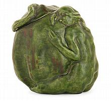 Francis-Rupert CARABIN (1862-1938) An enamelled earthenware box shaping a kneeling woman on a gourd. Carved signature and numbered. (A