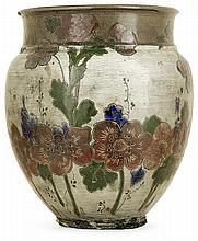Ernest CHAPLET (1835-1909) & Édouard DAMMOUSE (1850-1903) & A.  KALT A glazed stoneware vase with floral decoration. Signed. (A few dam