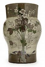 Ernest CHAPLET (1835-1909) & Édouard DAMMOUSE (1850-1903) & A. KALT A large baluster enamelled stoneware vase, circa 1885-1887, floral