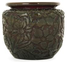 Ernest-Baptiste LEVEILLÉ (1841-1913) An ovoid doubled glass vase with acid-etched floral decoration. Incised signature. Height. 3 1/2 i