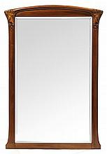 Georges NOWAK A large Art Nouveau walnut framed mirror. Height. 59 1/2 in. - Width. 40 1/2 in.