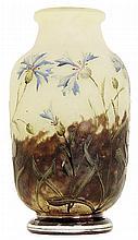 DAUM NANCY Petit vase balustre. Height. 3 5/8 in.