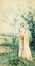 Georges Jules Victor CLAIRIN (1843-1919) Portrait de Sarah Bernhardt Aquarelle gouachée sur papier représentant Sarah Bernhardt en prom