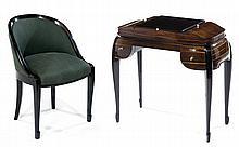 LOUIS SÜE (1875-1968) & ANDRÉ MARE (1885-1932) An ebony and Macassar ebony veneer dressing table with ivory handles. Is added an ebony