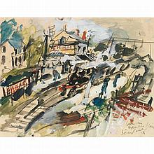 GEN PAUL (EUGENE PAUL DIT) (1895-1975). Gare des épluches, 1924. Gouache, watercolour and charcoal on paper; signed, situated and dated