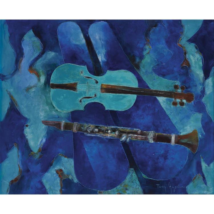 Felix Agostini (1912-1974) Violon vert et clarinette