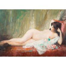 Fabio Cipolla (1852-1935) Nu féminin Oil on canvas; signed lower right 13 x 18 1/8 in.