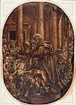 École italienne du XVIIème siècle Saint Barnabé guérissant les malades, d'après Véronèse Huile sur papier 39,5 x 28 cm coupé aux qua...