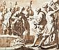 École napolitaine  du XVIIème siècle  Joseph vendu par ses frères Plume, encre brune et lavis brun  7 x 8 cm Dans un cadre en écaill...