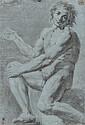 École italienne du XVIIIème siècle  Académie d'homme assis Crayon noir et estompe sur papier préparé 42,5 x 29 cm Pliures, mouillure...