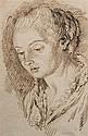 Attribué à Pietro Antonio NOVELLI II (Venise 1729 - 1804) Portrait de femme Plume et encre brune sur traits de crayon noir 22 x 14 c...